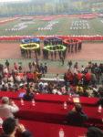 olympijské kruhy na oválu během studentských her v Číně